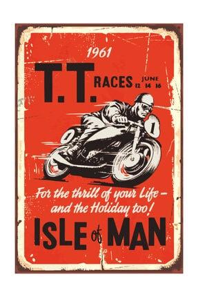 Vintage Ahşap Poster Motor Yarışı