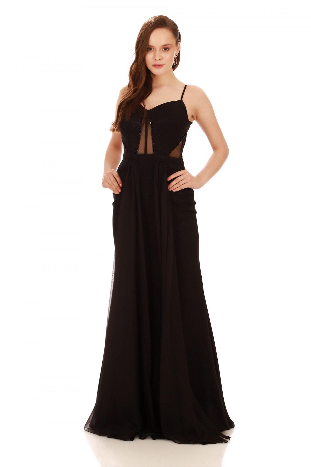 Pierre Cardin Kadın Siyah Krep Boncuk İşlemeli Pelerinli Abiye Elbise PC55556