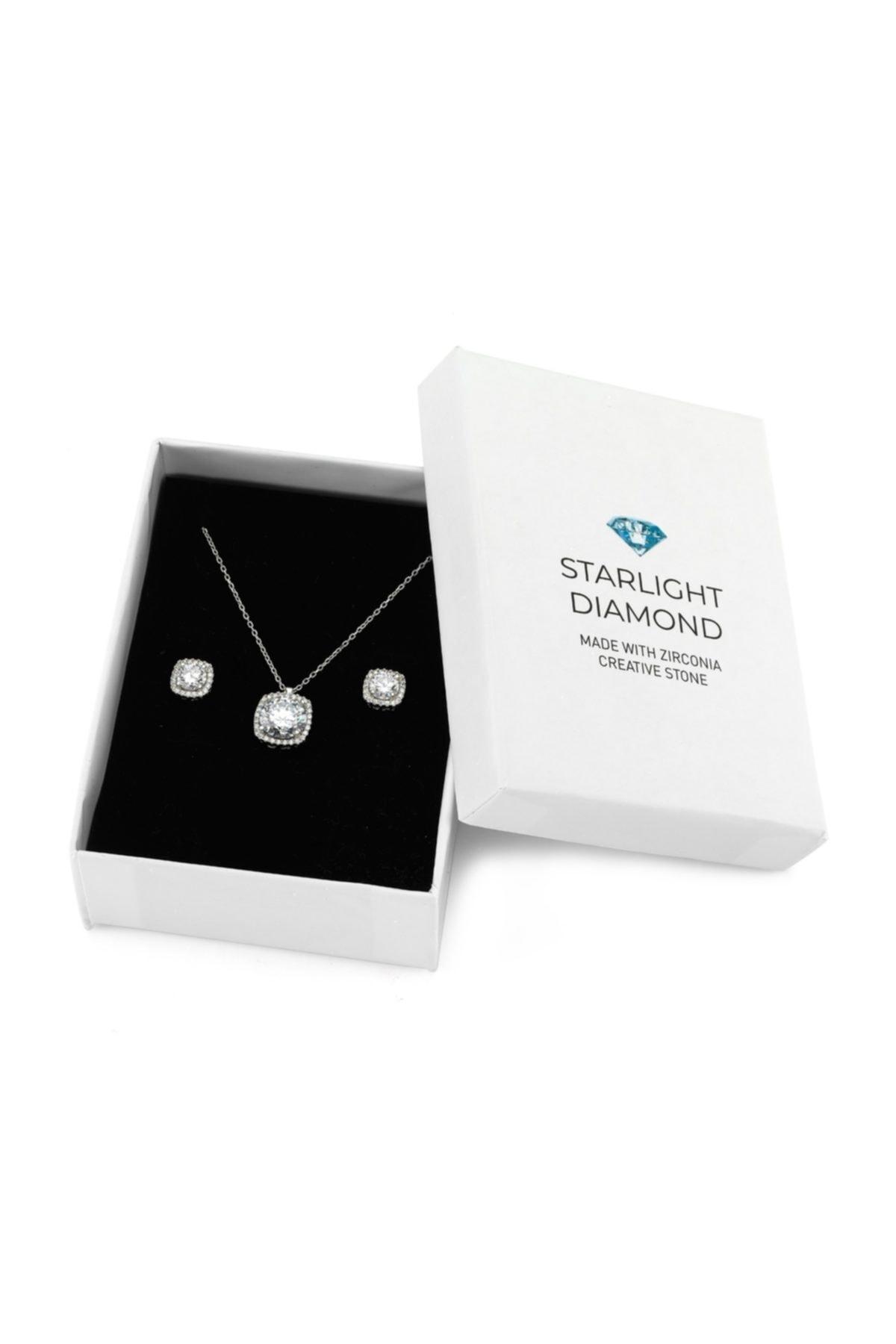 Starlight Diamond 925 Ayar Kare 2'li Gümüş Takı Seti SDSET 1