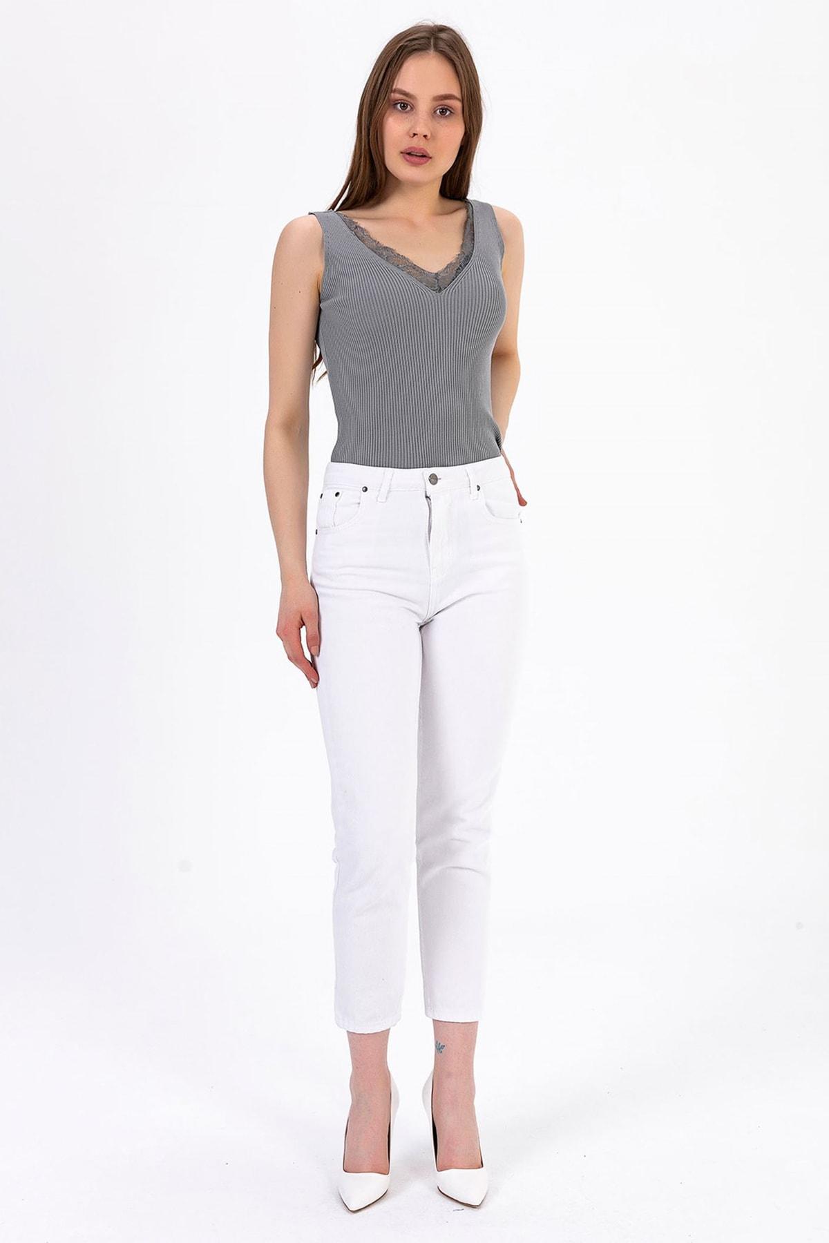 TIFFANY&TOMATO Kadın Beyaz Mom Jeans Pantolon A0055Y833T 1