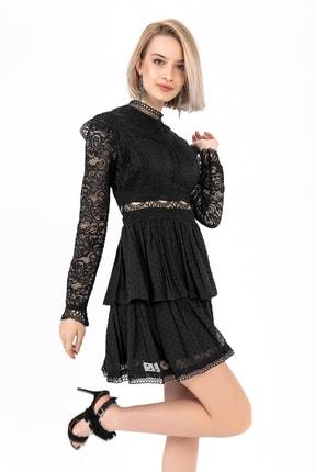 TIFFANY&TOMATO Kadın Siyah Dantelli Abiye Elbise A0002Y829T