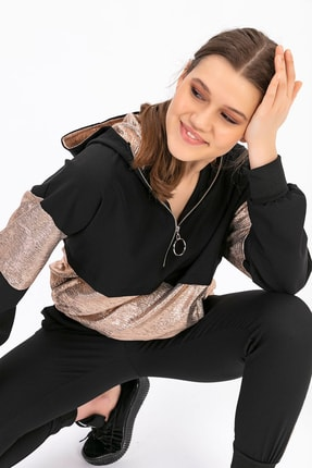 TIFFANY&TOMATO Kadın Siyah Kamanq Kapşonlu Sweatshırt A0129Y878T