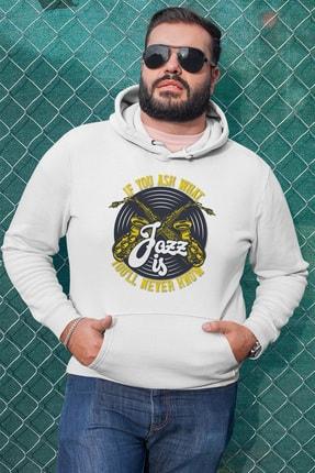 Angemiel Erkek Wear Jazz Ve Saksafon Beyaz Kapüşonlu Sweatshirt