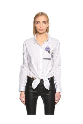 SH İşleme Detylı Bağlama Detaylı Beyaz T-Shirt
