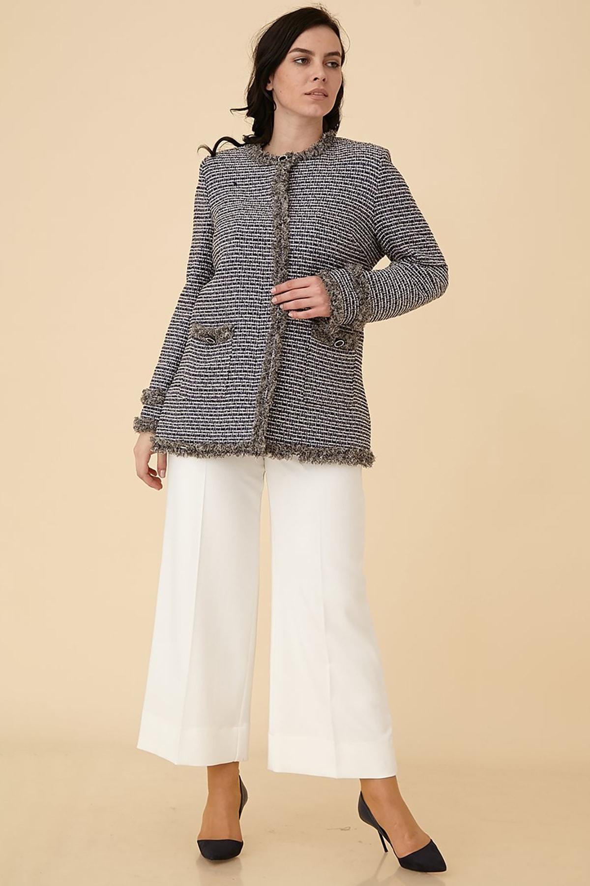 Kayra Kadın Tüvit Kumaş Ceket B9 13068 Mor