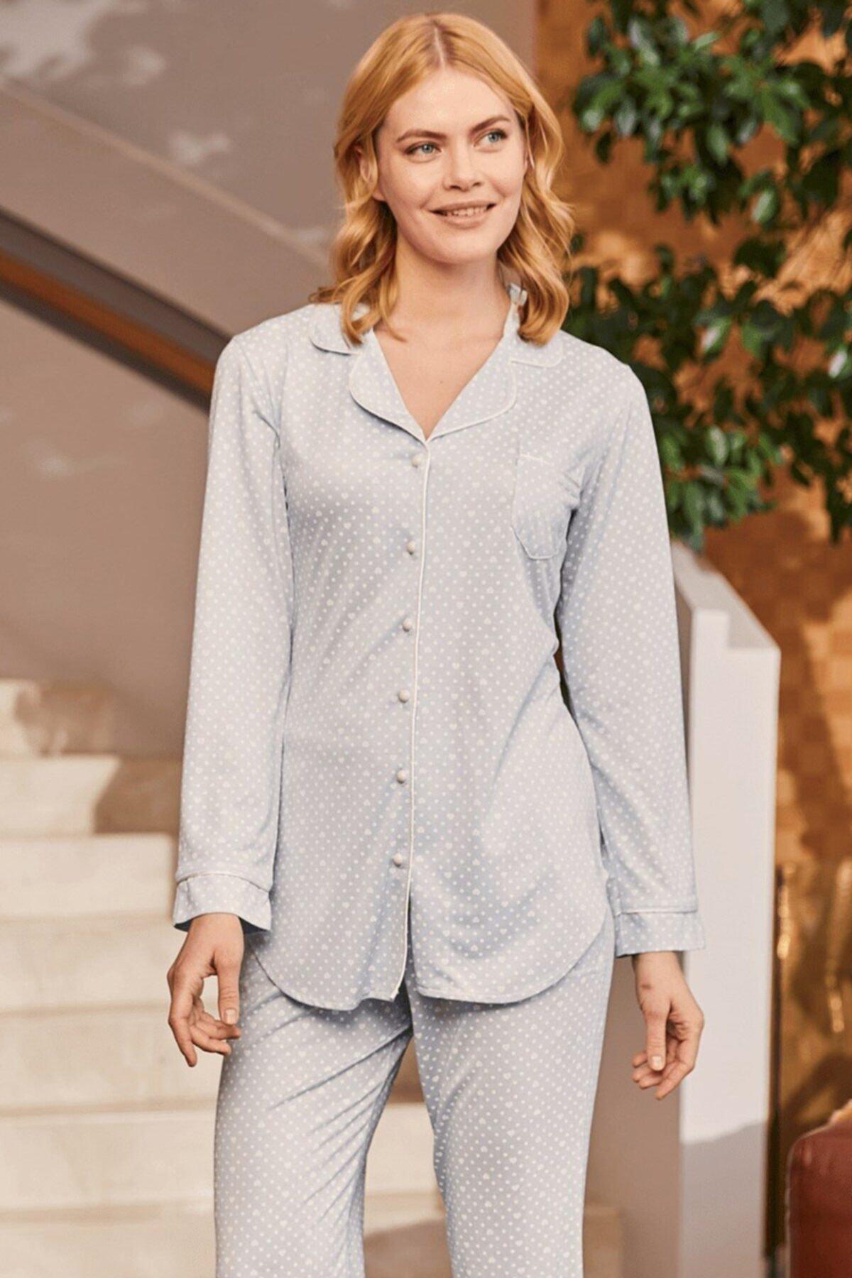 Lohusa Sepeti Kadın Mikaela Mavi Önden Düğmeli Pijama Takımı 1