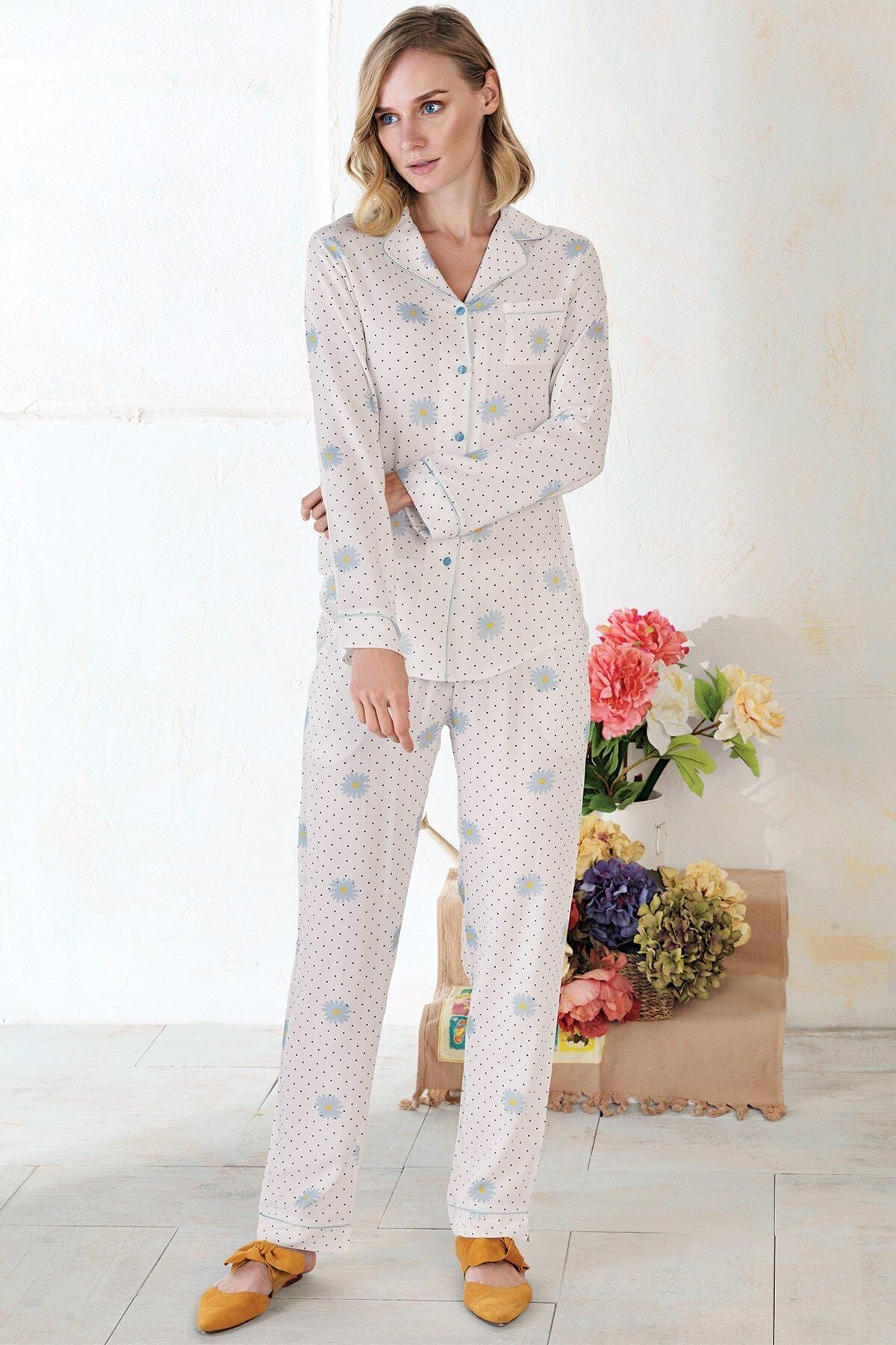 Lohusa Sepeti Pietra Lungo Önden Düğmeli Pijama Takımı 1183 2