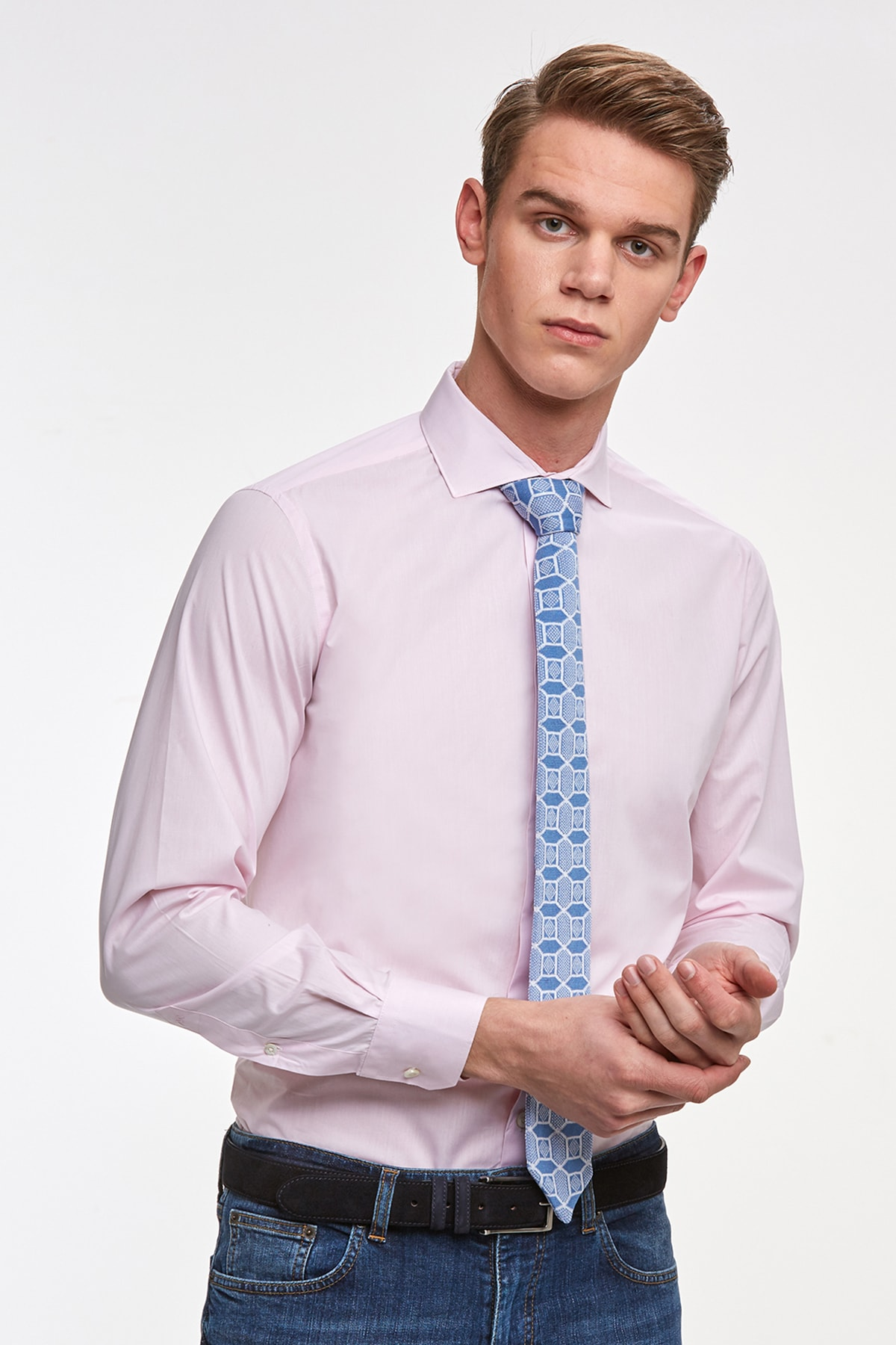 Hemington Pembe Italyan Yaka Pamuk Business Gömlek 1