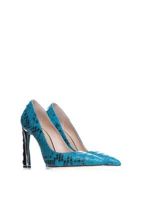 Cengiz Gümüş Turkuaz Gerçek Yılan Derisi Topuklu Kadın Ayakkabı