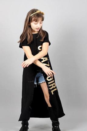 Hilal Akıncı Style Siyah Renk Tunik Ve Kot Şorttan Oluşan Gold Renk Fontlu Kız Çocuk Ikili Takım