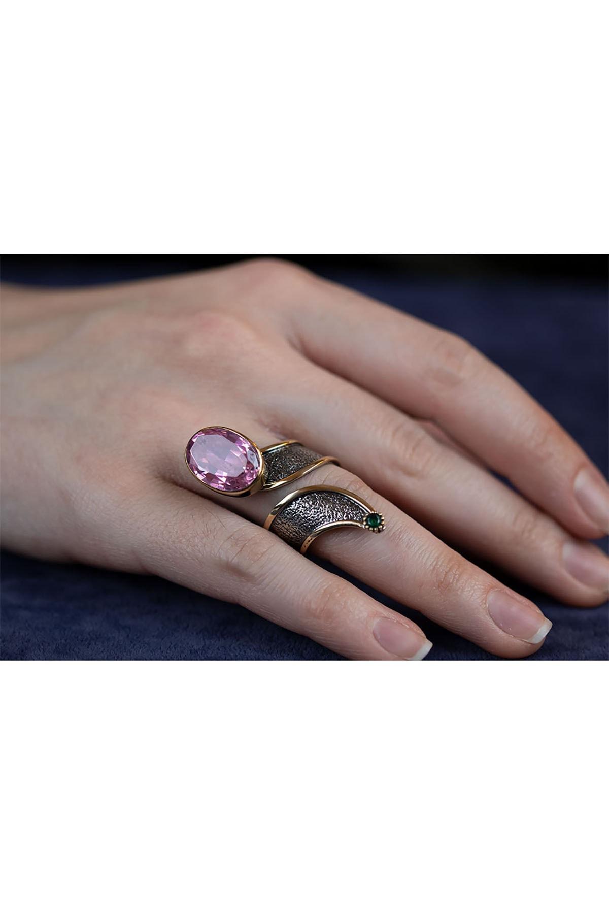 Necati Gün Pembe Quartz Gümüş Tasarım Otantik Kadın Yüzüğü 1