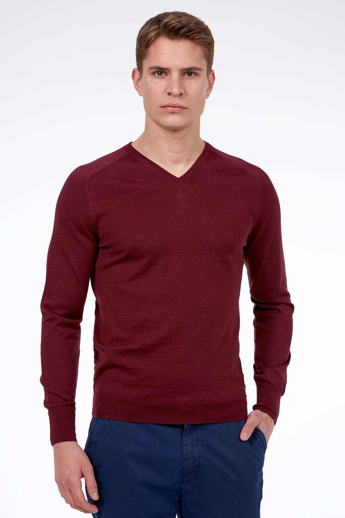 Hemington Bordo V Yaka Slim Fit Merino Yün Triko 1