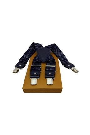 Kemer Dünyası Metal 4 Klipsli Uçları Derili Lacivert Puantiyeli Pantolon Askısı