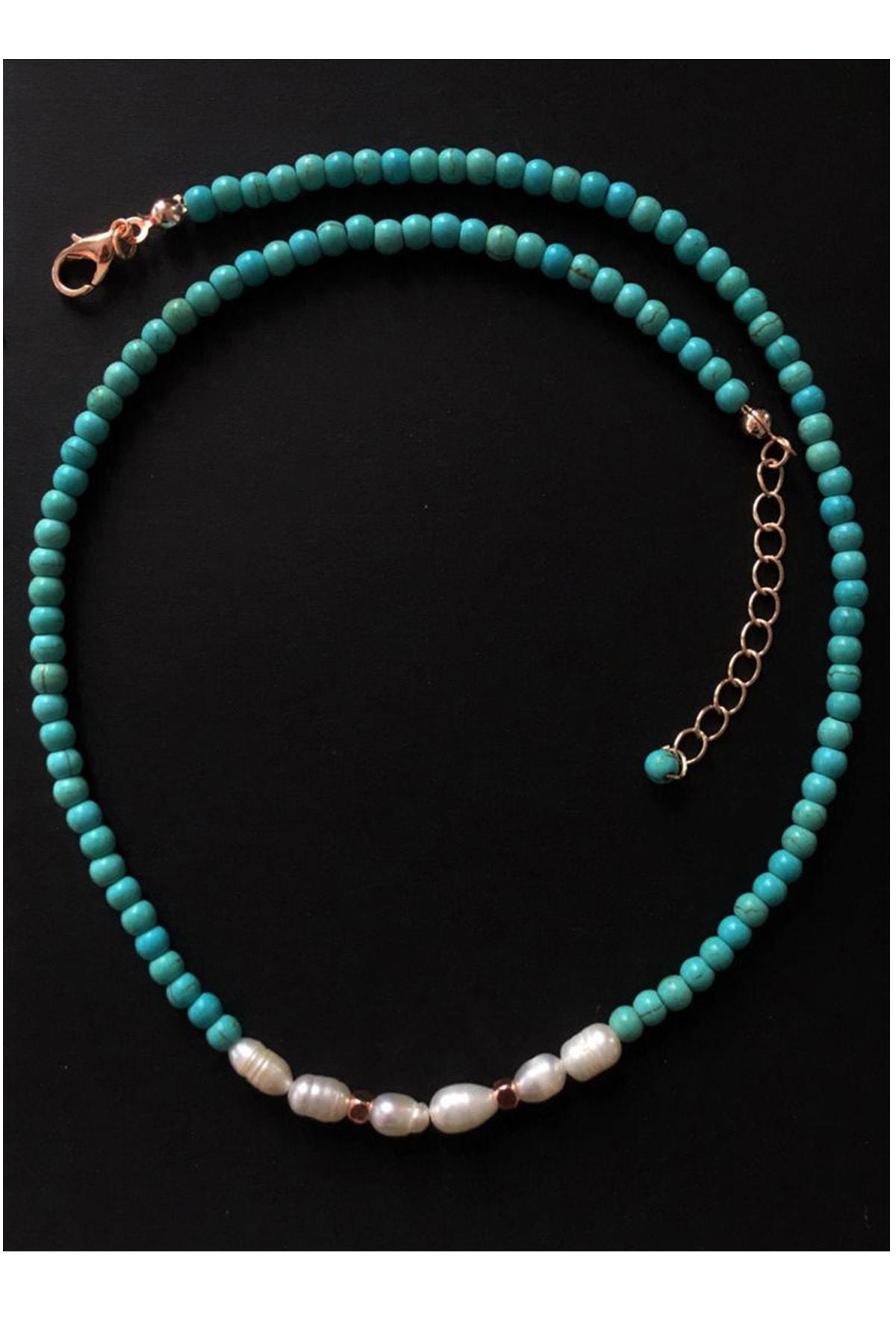 Serpil Jewellery Kadın Rose Rengi Firuze Ve Gerçek Inci Doğaltaşlı Kolye 2