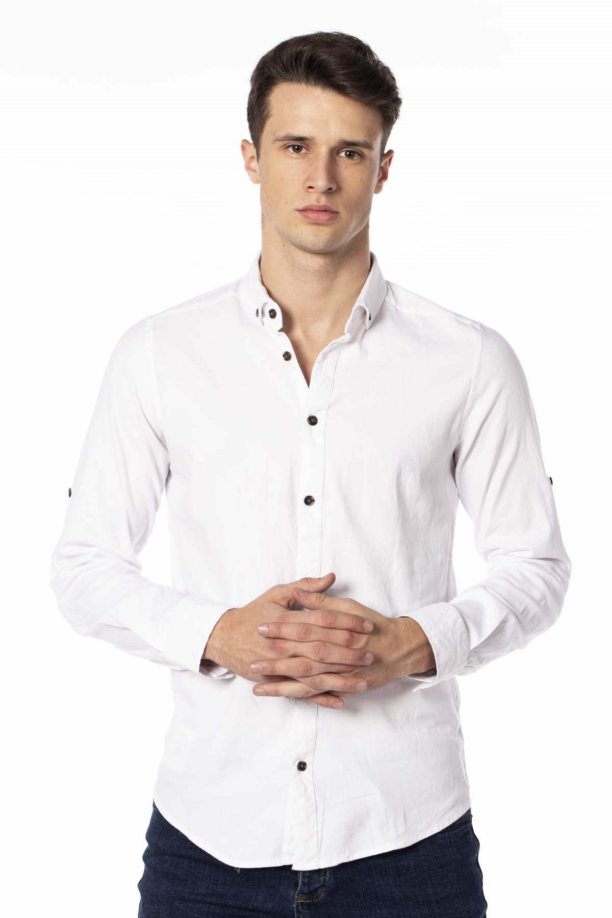 BARRELS AND OIL Erkek Beyaz Patlı Gabardin Gömlek 344-20Y03020.55