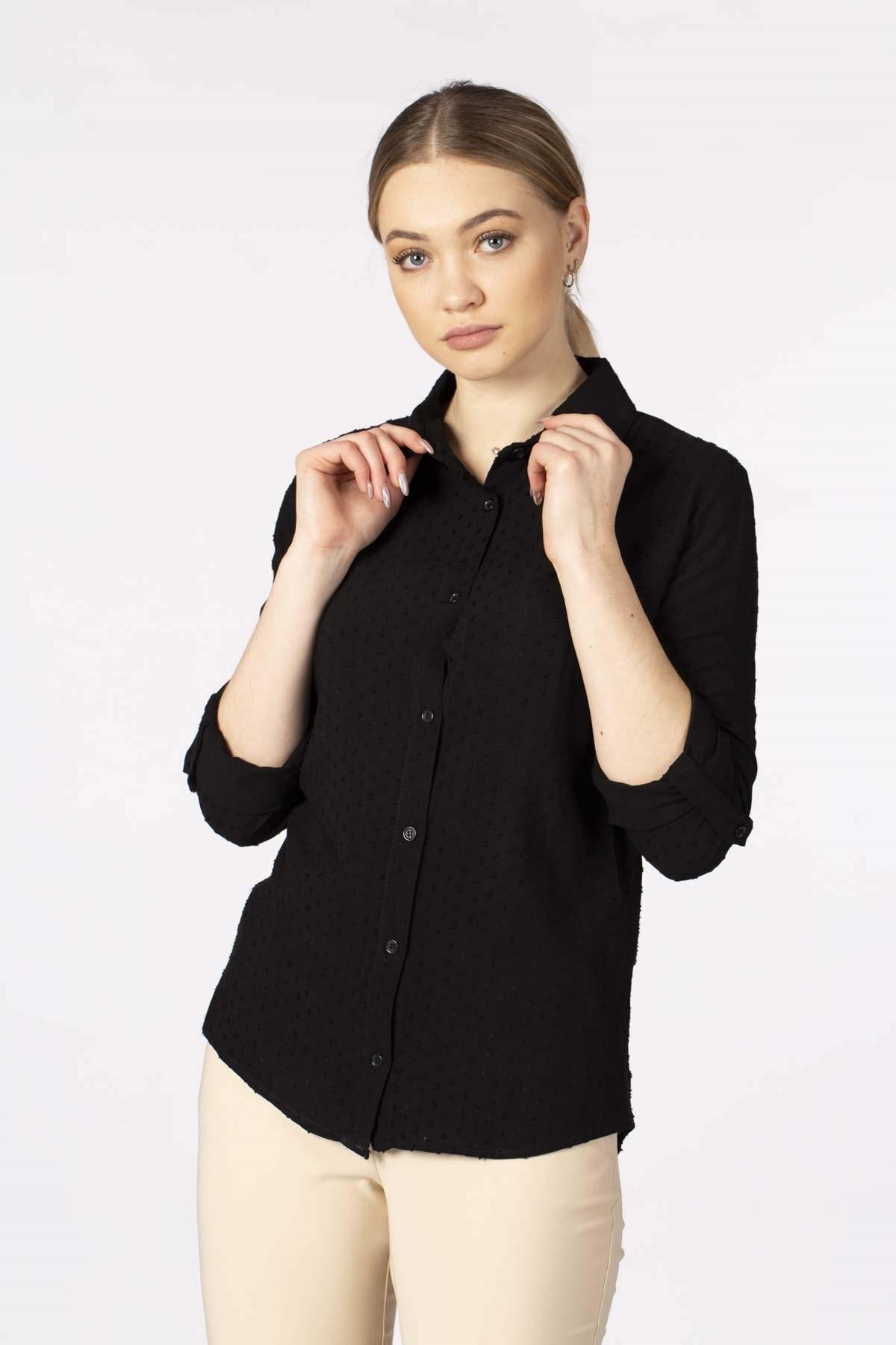 BARRELS AND OIL Kadın Siyah Ponponlu Gömlek 692-20Y03002.91
