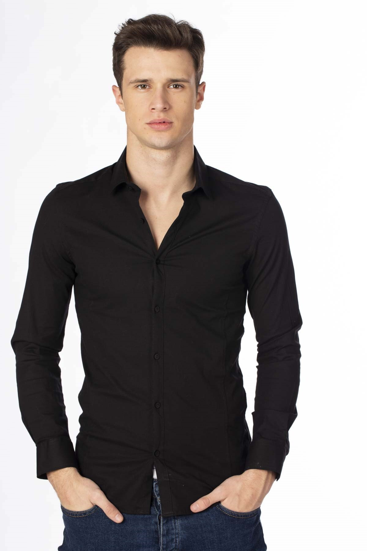 BARRELS AND OIL Erkek Siyah Klasik Gömlek 344-20Y03029.91