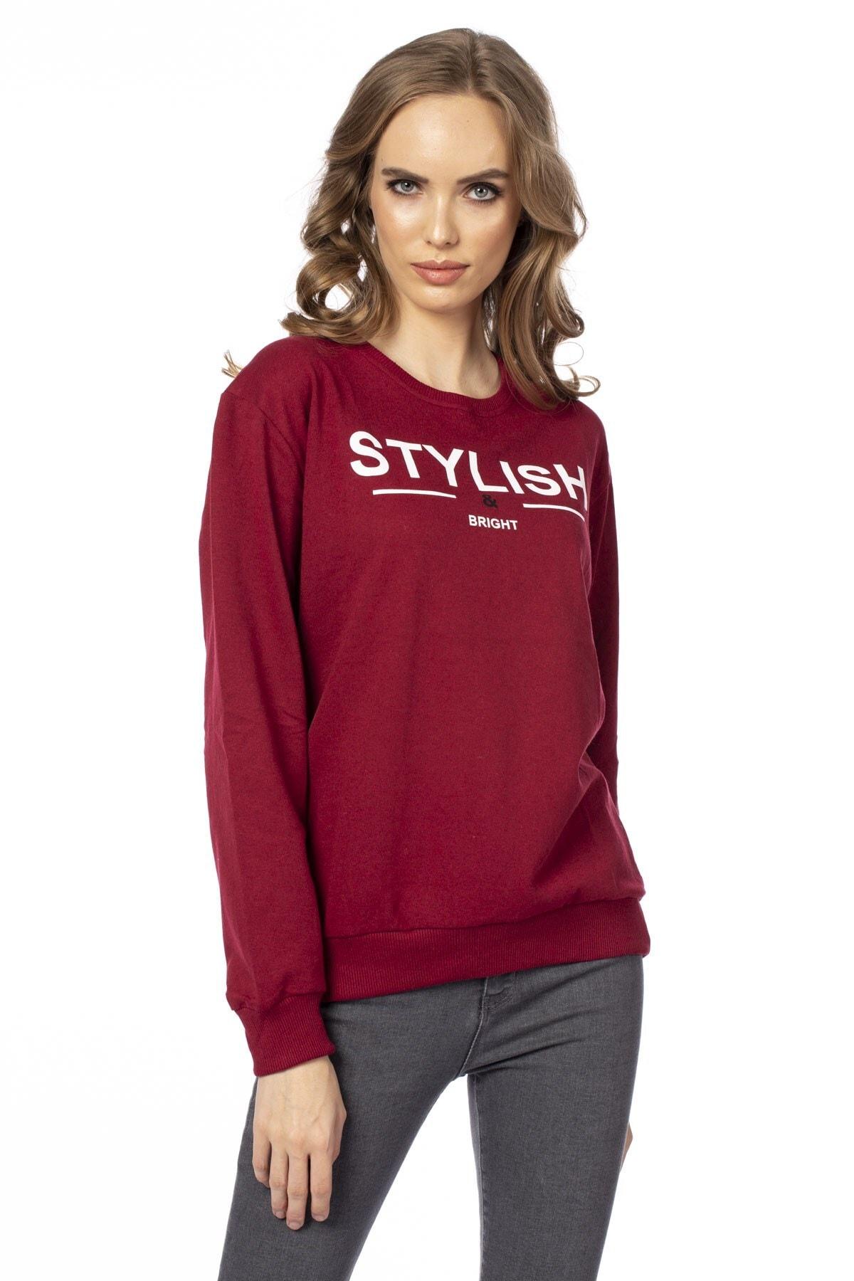 BARRELS AND OIL Kadın Bordo Stylish Baskılı Sweatshirt 231-19K002.04