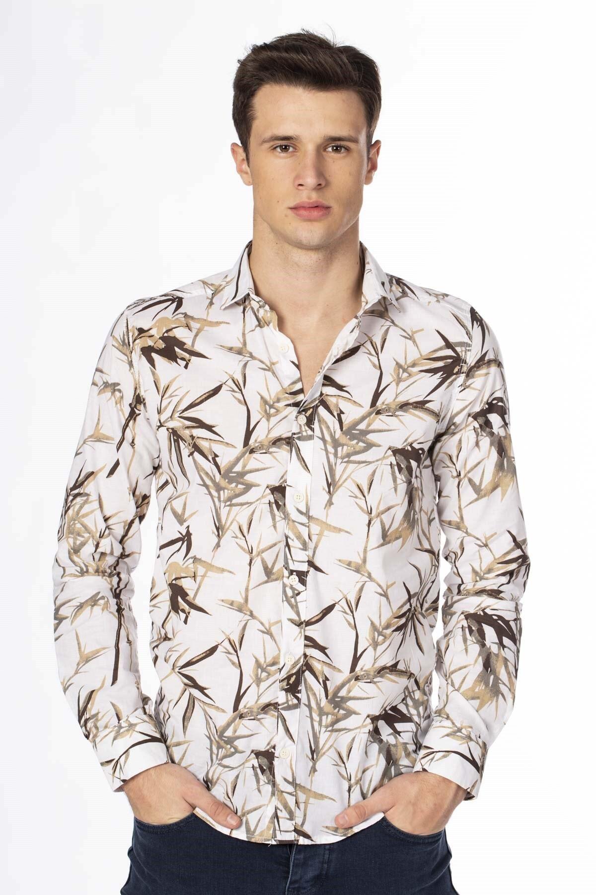 BARRELS AND OIL Erkek Beyaz Çiçek Desen Gömlek 344-20Y03030.55