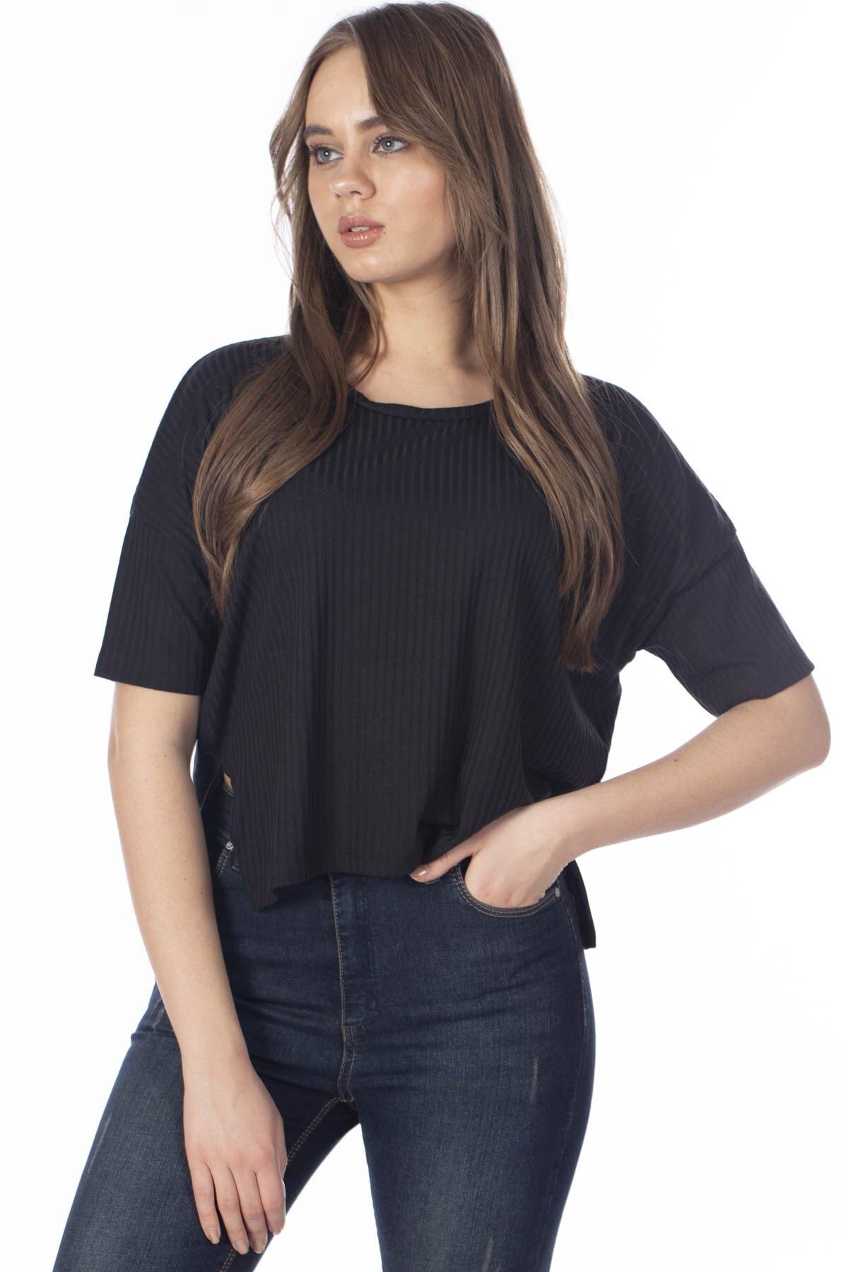 BARRELS AND OIL Kadın Siyah Eteği Yırtmaçlı Salaş T 399-20Y13032.91