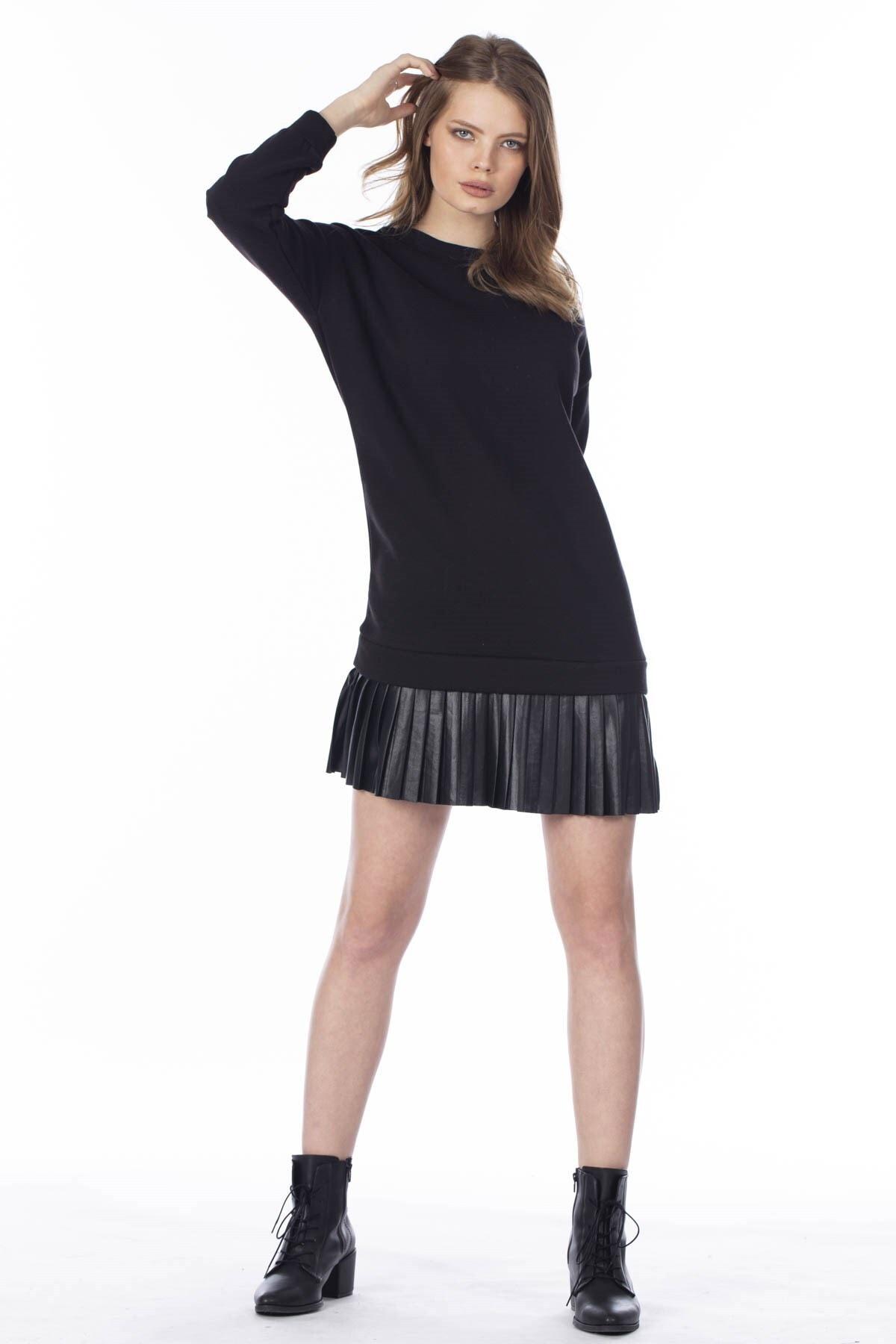 BARRELS AND OIL Kadın Siyah Eteği Derili Sweat Elbise 275-19K14002.91