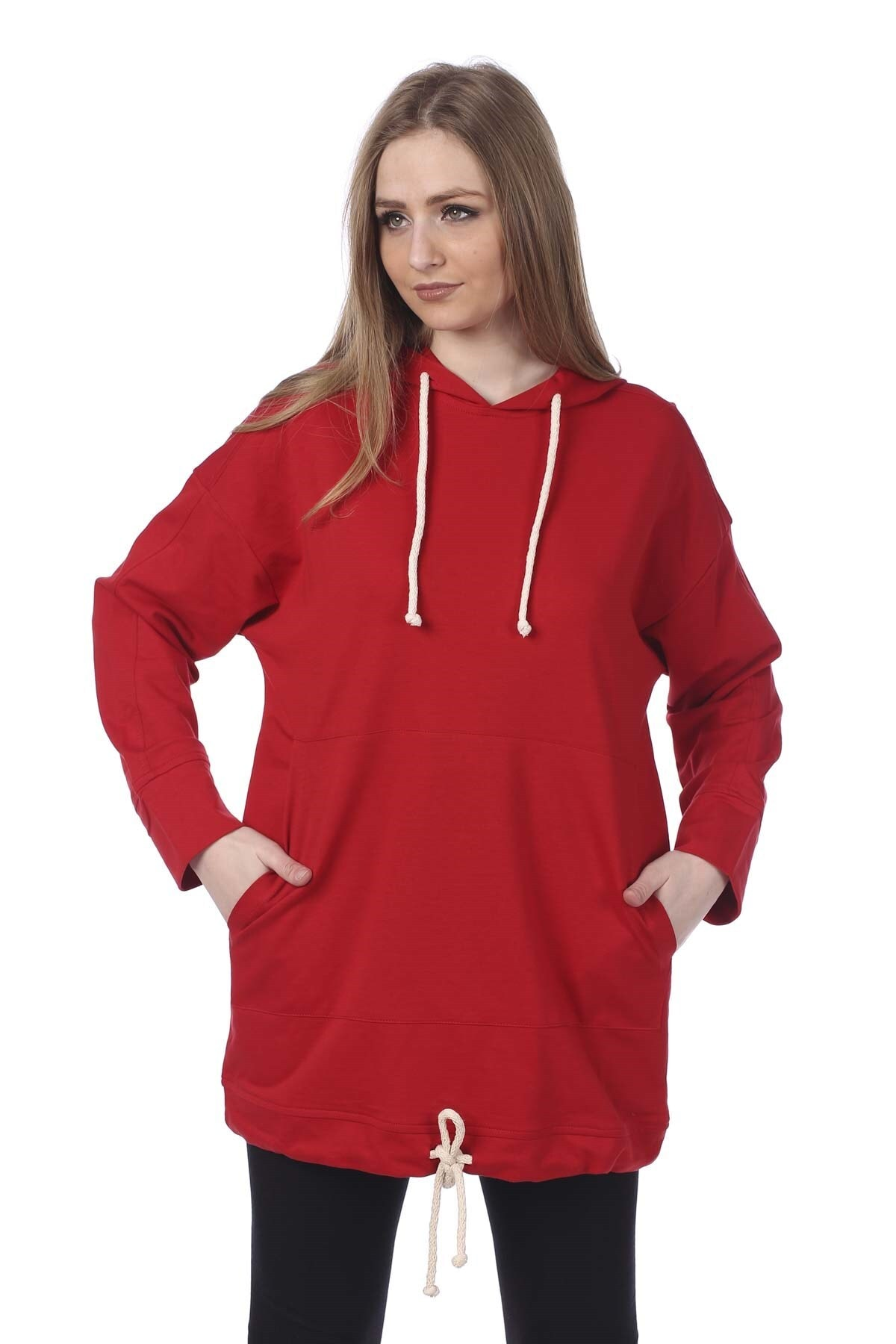 BARRELS AND OIL Kadın Kırmızı Kapüşonlu Kanguru Cepli Sweatshirt 733-19K014.16