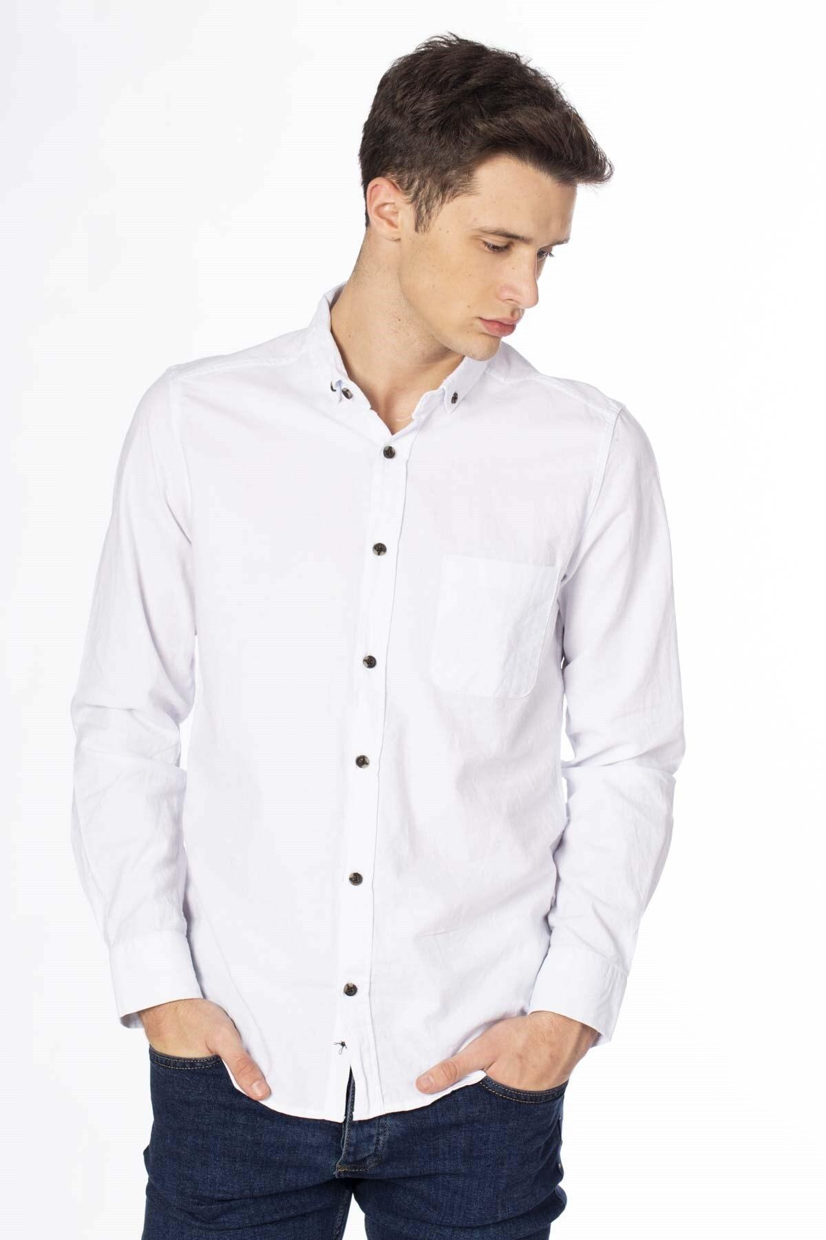 BARRELS AND OIL Erkek Beyaz Oxford Gömlek 344-20Y03031.55
