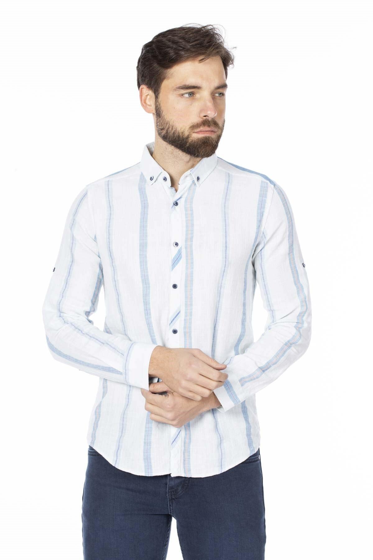 BARRELS AND OIL Erkek Beyaz Hasır Keten Gömlek 344-20Y03002.55