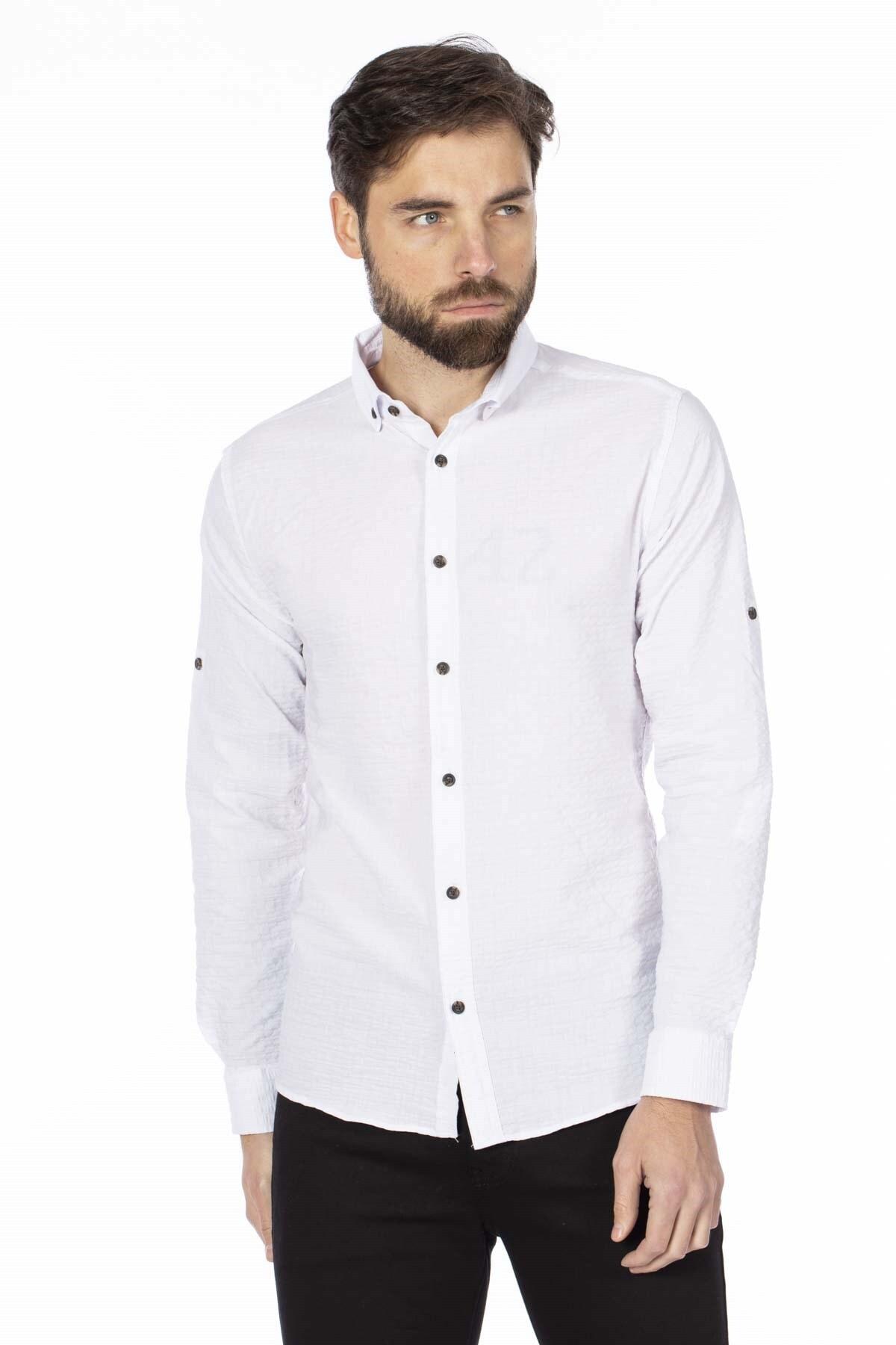BARRELS AND OIL Erkek Beyaz Bengalin Gömlek 344-20Y03010.55