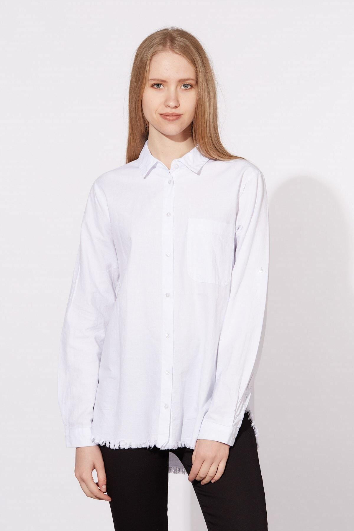 BARRELS AND OIL Kadın Beyaz Tek Cepli Oxford Gömlek 344-20Y03041.55