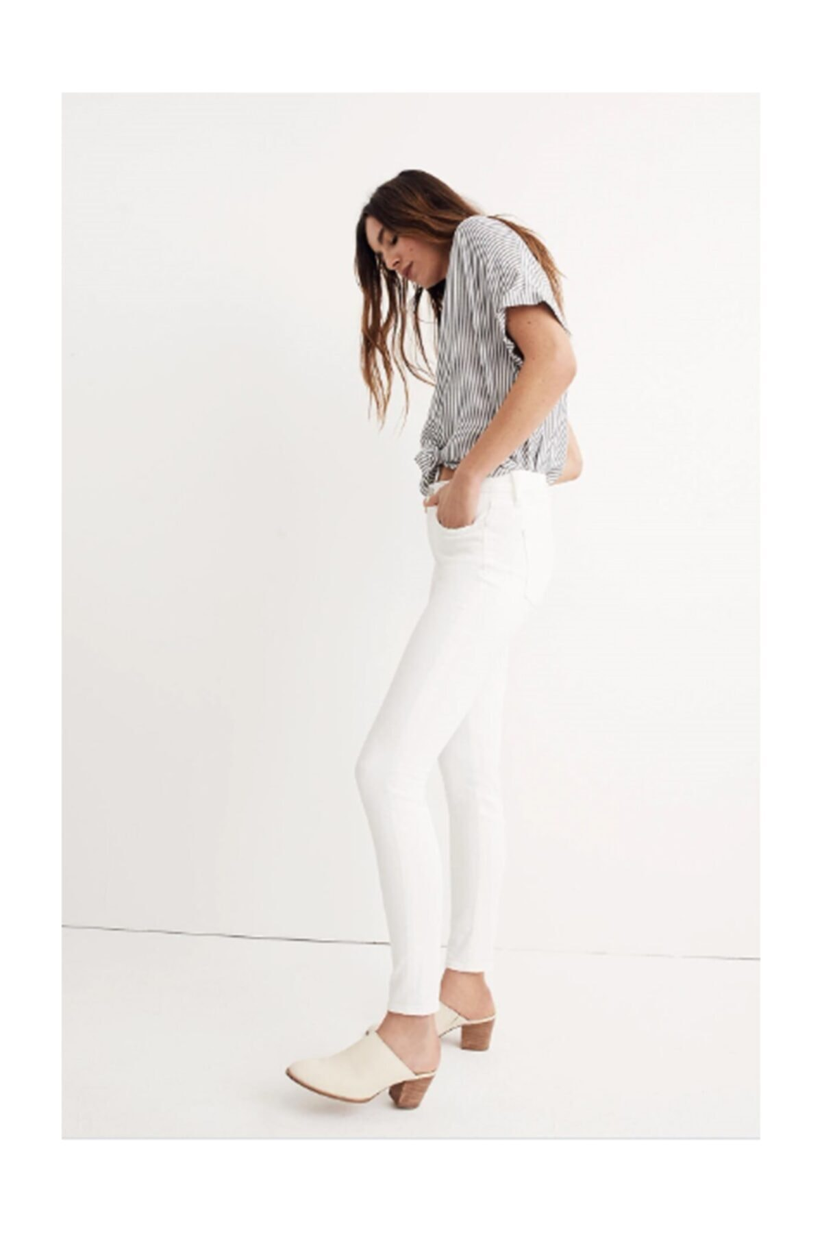 Birce Beyaz Yüksek Bel Skinny Jeans 2