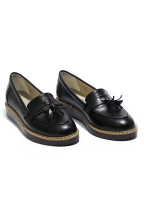 Karmareyon Kadın Siyah Püskül Detaylı  Loafer Ortopedik Ayakkabı