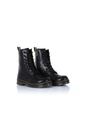 sothe shoes Kadın  Siyah Deri Bot Bağcıklı Postal Ayakkabı  Ss-500