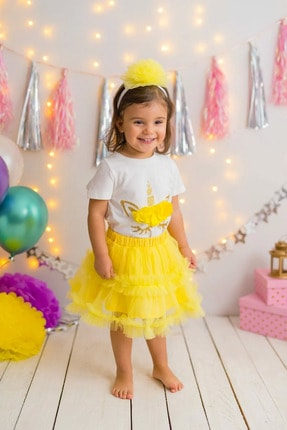 PixyLove Ekru Kız T-shirt Sarı Unicorn