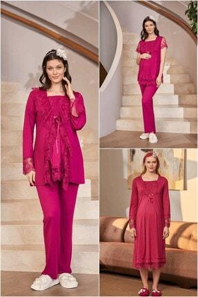 Mecit Pijama Kadın Lohusa Set - Fuşya 4 Parça