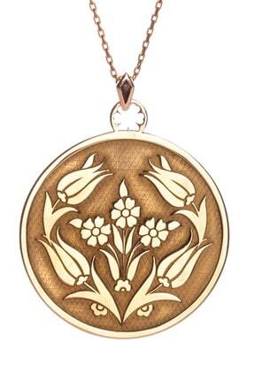 Anı Yüzük 925 Ayar Gümüş Lale Motifli Kadın Kolye Rose Renk