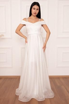 PULLIMM Jessia 13278 Askılı Simli Tül Uzun Elbise