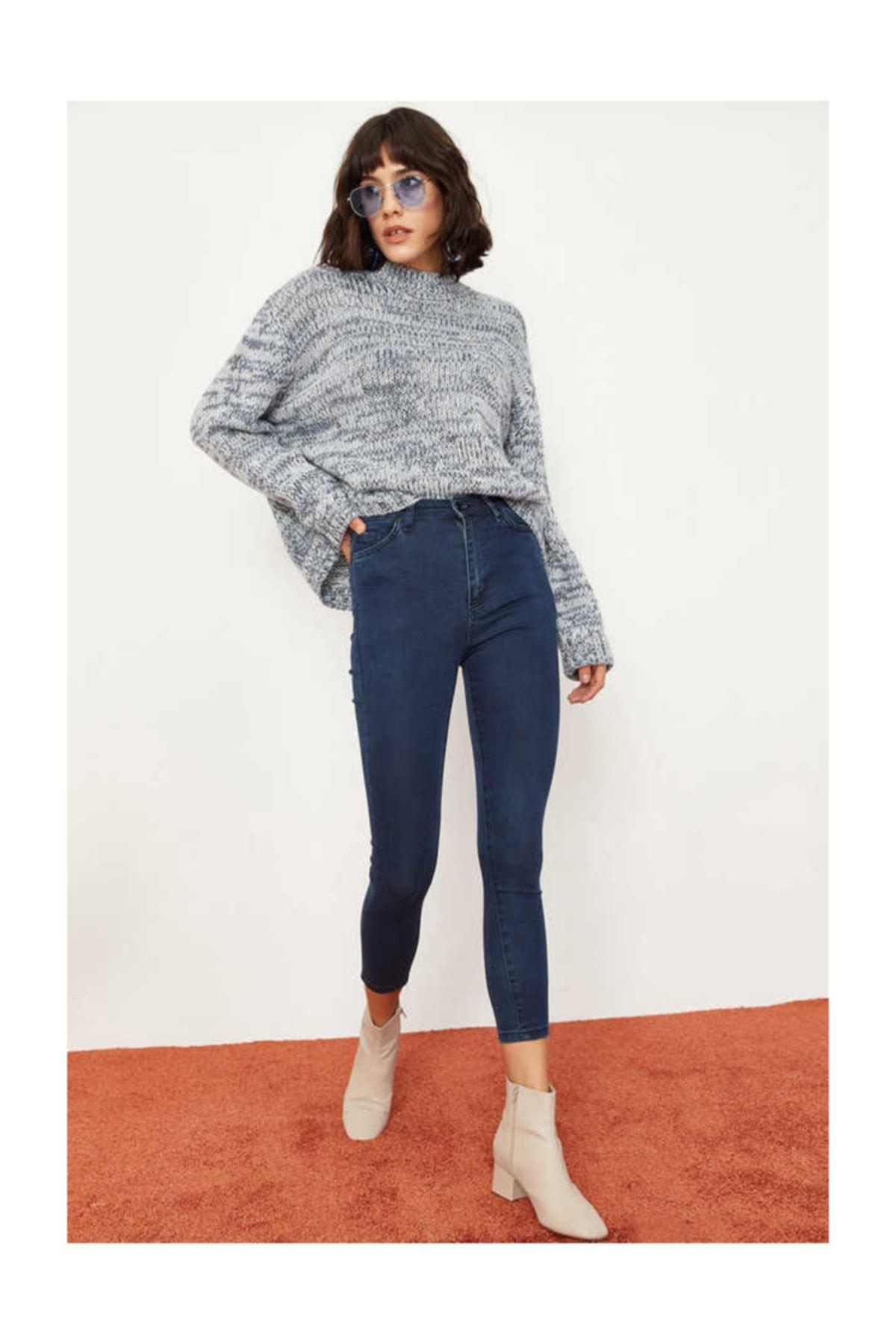 Bianco Lucci Kadın İndigo Likralı Yüksek Bel Skinny Jeans 2915864 2