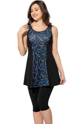 Argisa Kadın Desenli Parçalı Taytlı Elbise Mayo 6515 Desenli Siyah Büyük Beden