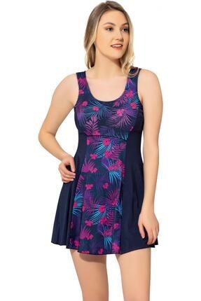 Argisa Kadın Desenli Parçalı Şortlu Elbise Mayo 6513 Desenli Lacivert Büyük Beden