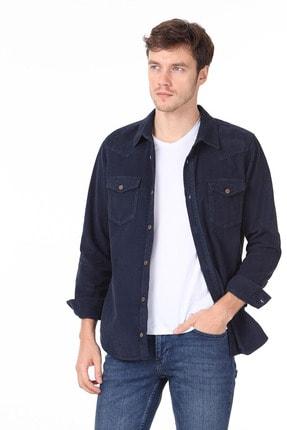 Ramsey Erkek Lacivert Düz Dokuma Uzun Kollu Gömlek RP10119590