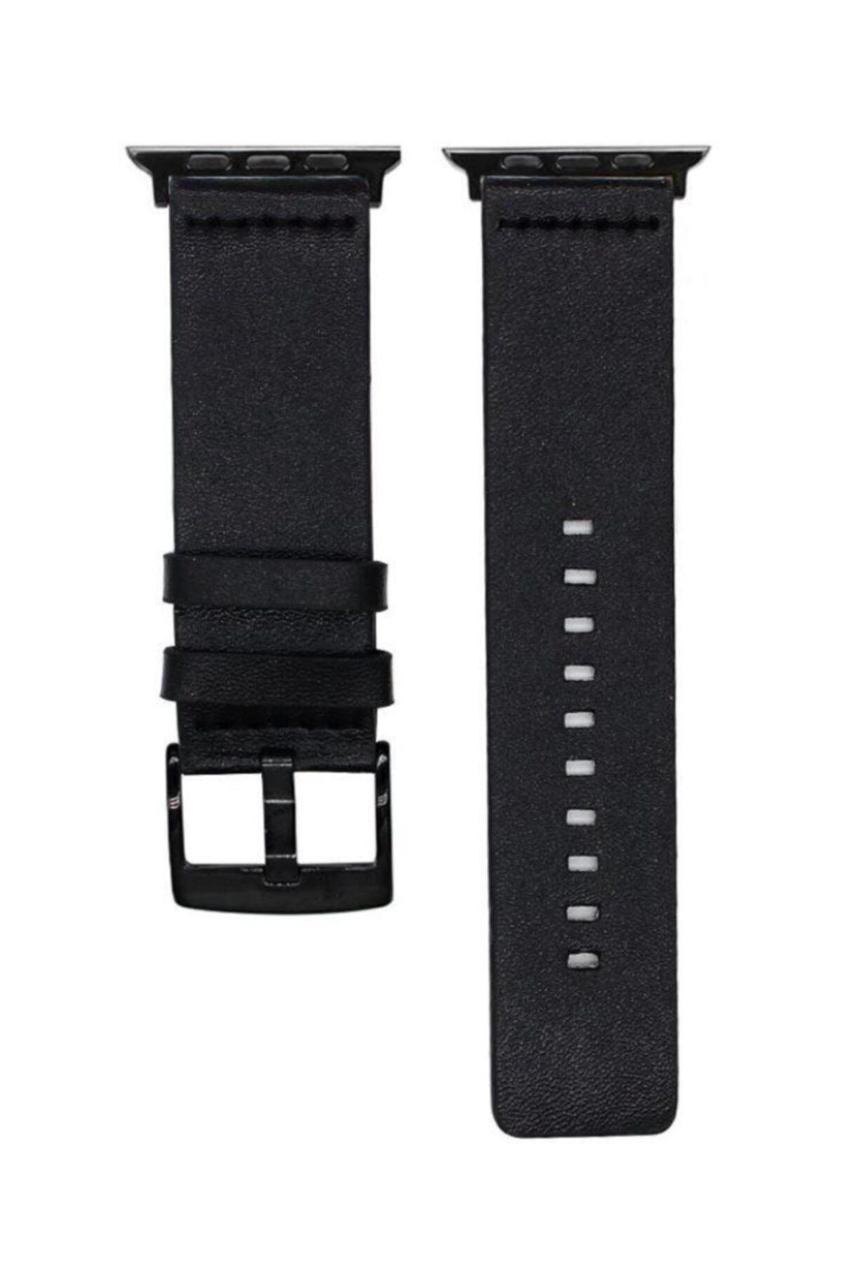 Schulzz Apple Watch Seri 1-2-3-4-5 Klasik 42-44 Mm Hakiki Deri Kordon Sıyah 2