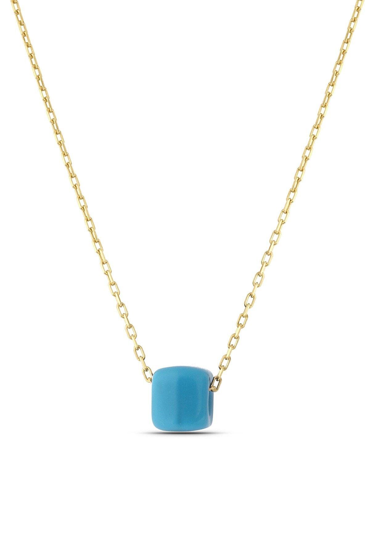 MySilvers Kadın Altın Mavi Boncuklu Klasik Gümüş Kolye 1