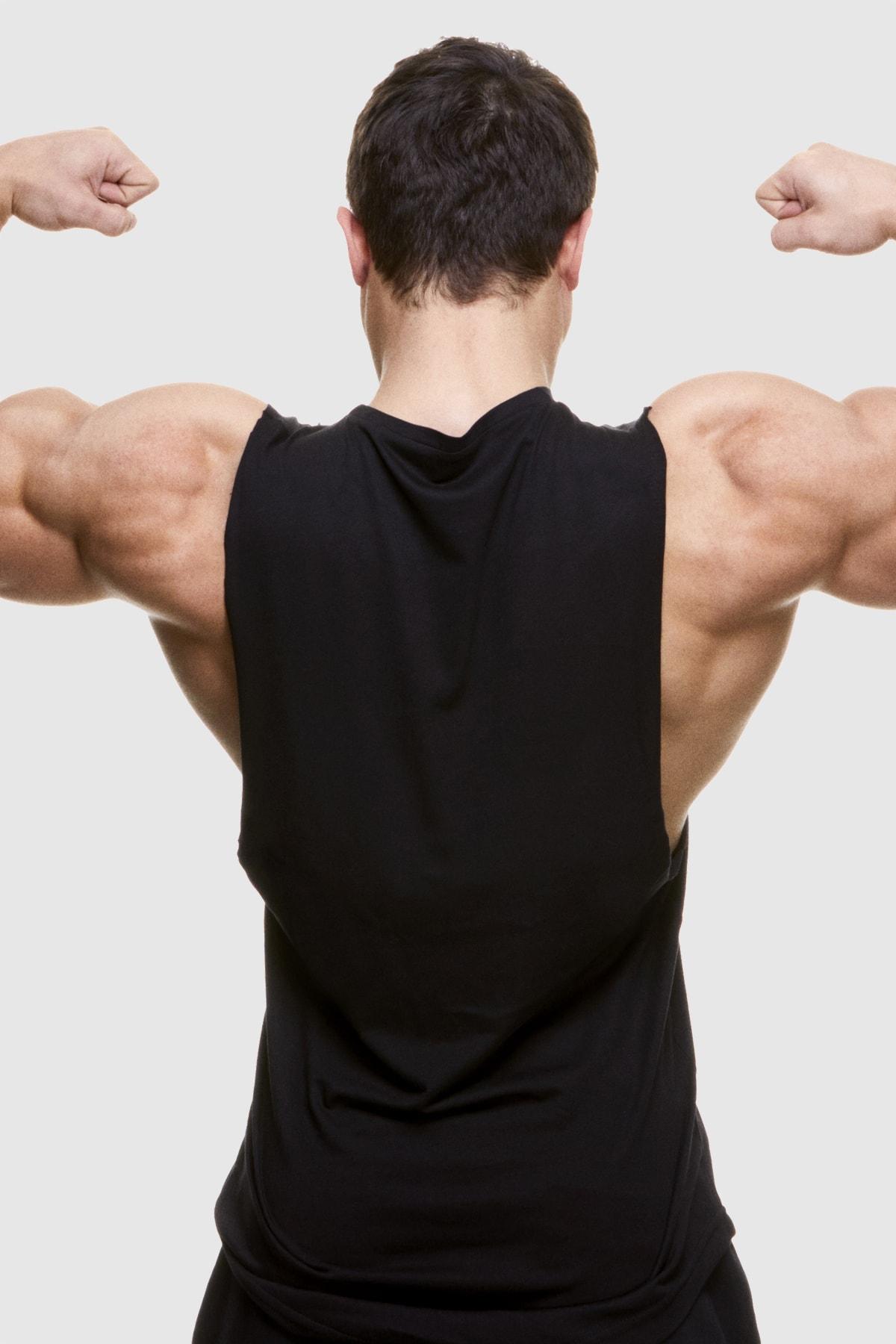 ShapeYou Siyah Drop Armhole Erkek Fitness Sporcu Atleti 2