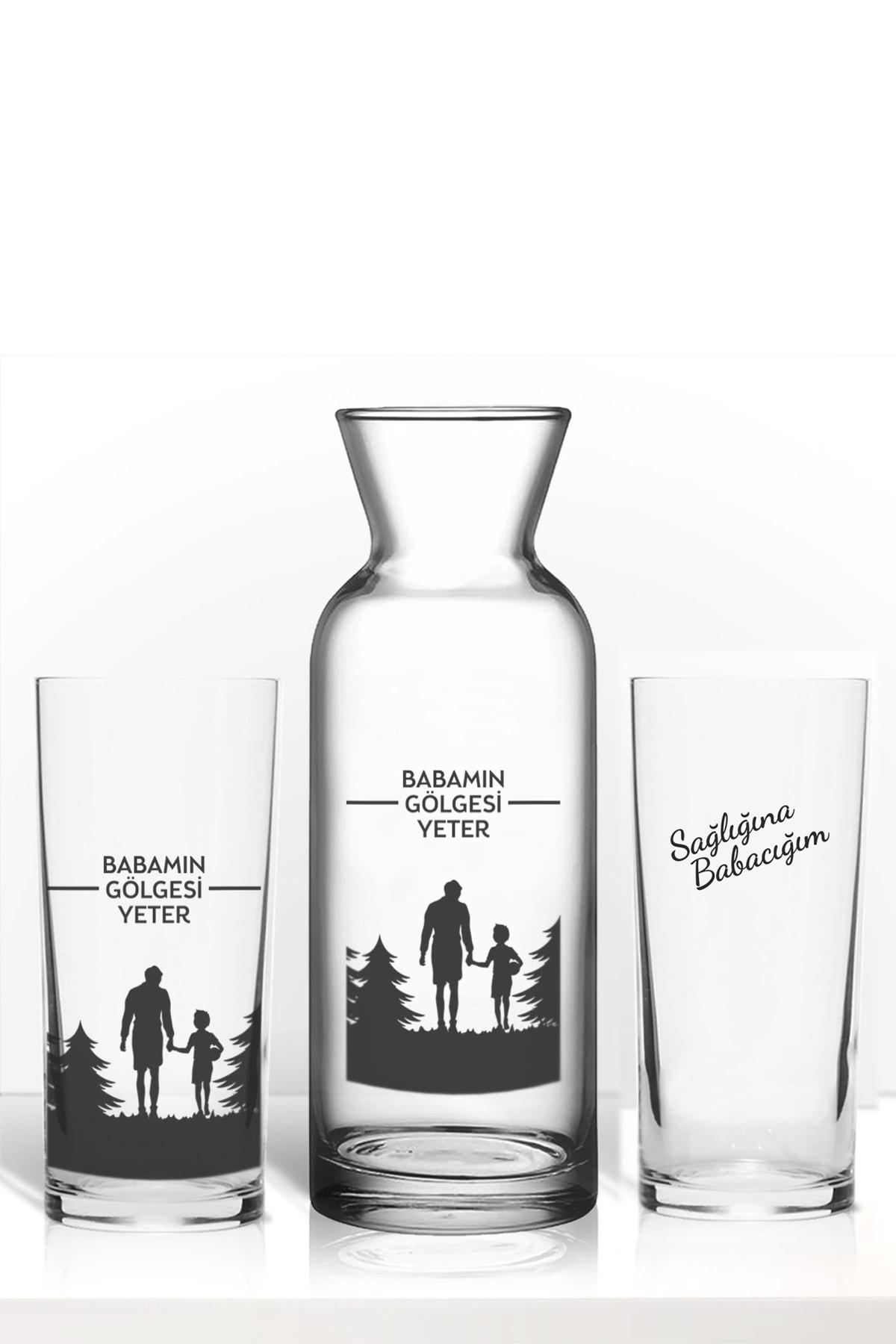 hediye-ci Babaya Özel Baba Için Özel Renkli Baskılı Ikili Rakı Bardağı Karaf Kadeh Set 1