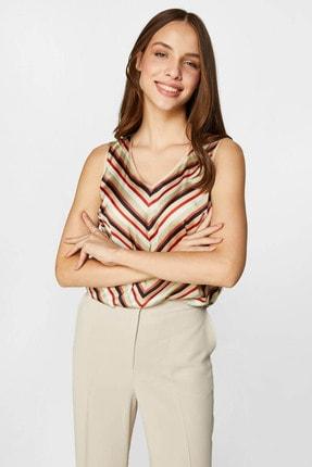 Faik Sönmez Kadın Multi Çizgili Saten Bluz 60121 U60121