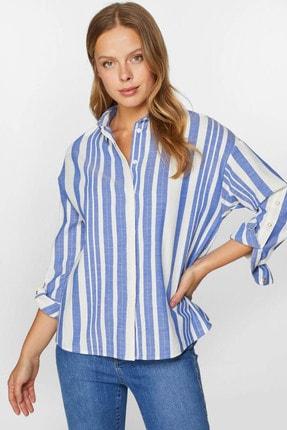 Faik Sönmez Kadın Mavi Çizgili Kolları çıtçıt detaylı Gömlek 60357 U60357