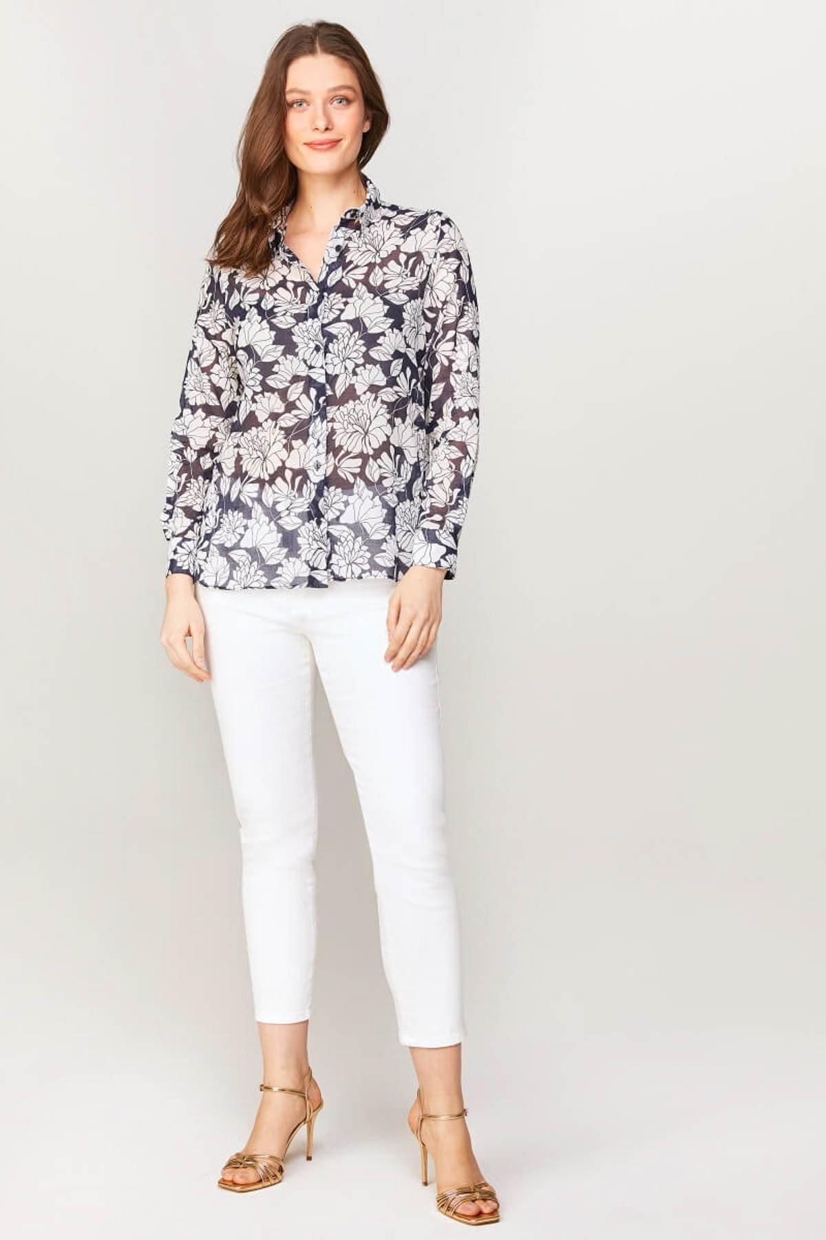 Faik Sönmez Kadın Lacivert Çiçek Desenli Monochrom Vual Gömlek 60081 U60081 2