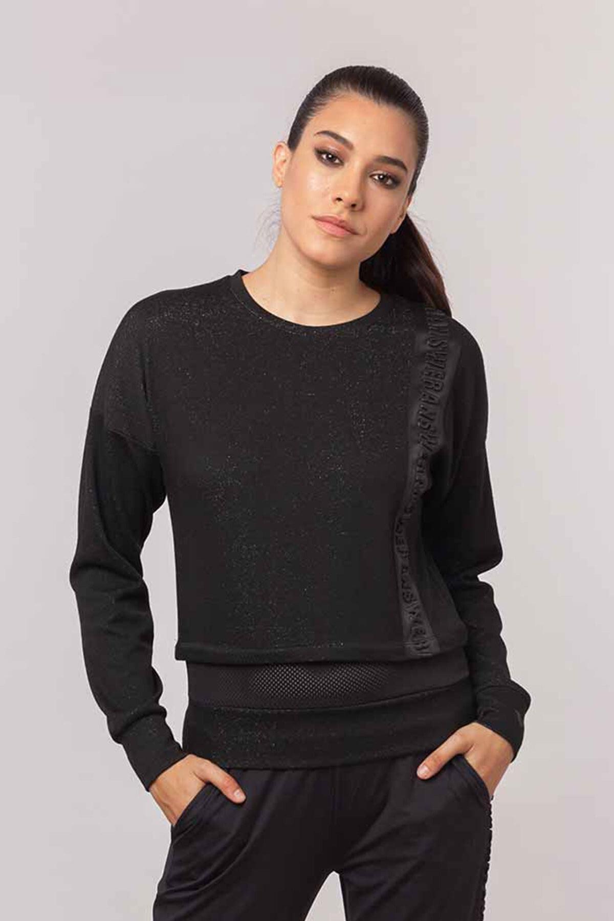 bilcee Siyah Simli Kadın  Sweatshirt EW-3025 1