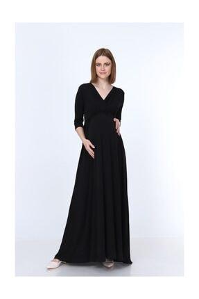 MYRA by LuvmaBelly 5215 - Truvakar Kol Kruvaze Yaka Beli Büzgülü Uzun Siyah Hamile Elbisesi